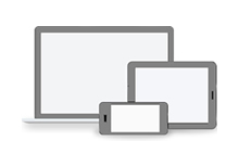 Photo of desktop, notebook and cell phone device icons