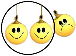 Three round yellow cartoon smiley faces inside a circle, and one sad face outside the circle