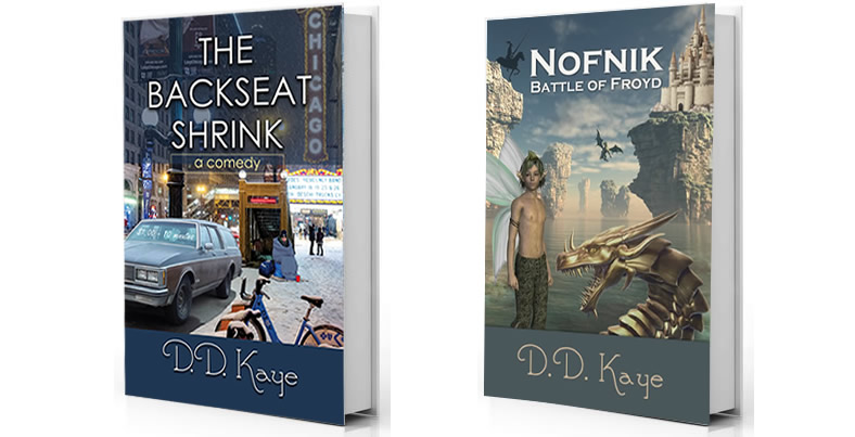 Photo of book covers for three books - On Wings of Foreign Lovers, The Backseat Shrink, and Nofnik Battle of Froyd.