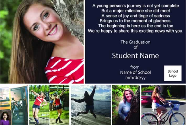 Graduation announcement for a highschool girl with her senior photo and smaller photos of her in track-and-field sports, riding a bike and getting on a kindergarten bus.