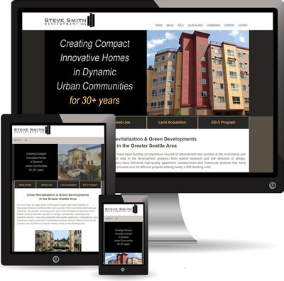 photo of Steve Smith Development website displayed on desktop, iPad and cell phone.