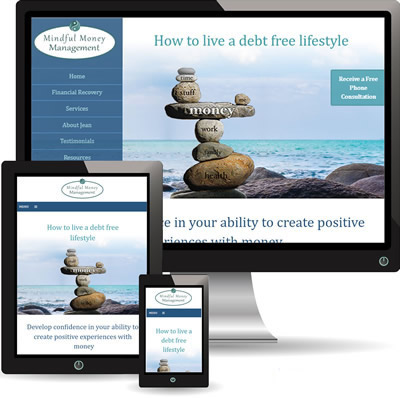 photo of Mindful Money Management website displayed on desktop, iPad and cell phone.